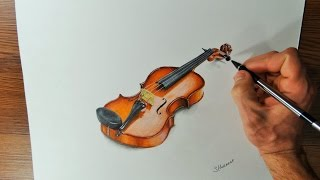 VIOLIN. Time Lapse Drawing Video. How I Draw a Violin.