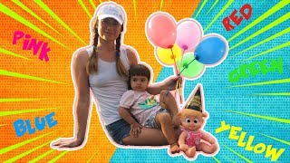 Learn Colors with Balloons | Happy Birthday doll Bonnie | Mama & Arina Pretend Play