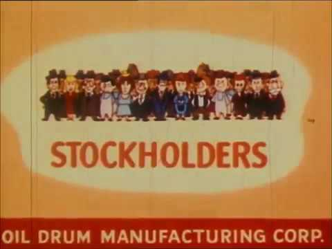 How Shares are Created Sold   Made Simple   Corporation to Stock   Cartoon 1950