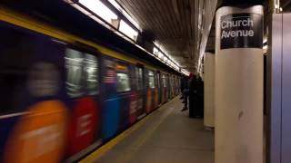 Second Avenue Subway adwrapped Q Train arriving at Church Avenue