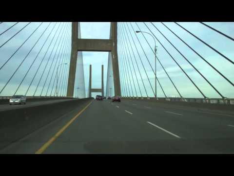 Crossing Alex Fraser Bridge-Delta-Vancouver-Ski Mountains View