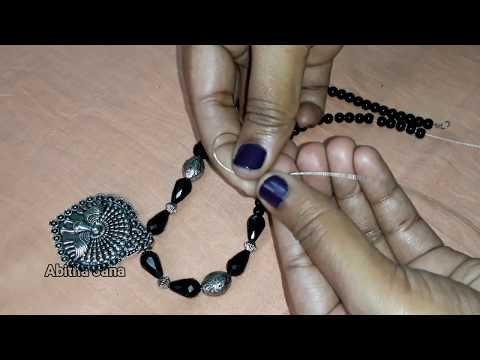 DIY Jewellery Making | Long Necklace with Earrings | Silver metal long neckpiece & Earrings