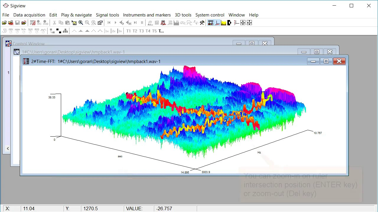SIGVIEW Tutorial: Spectrogram, Time FFT, 3D graphics