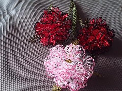 İğne Oyaları Karanfil çiçeği Yapımı, Carnation,  Nelke  針花邊 الدانتيل إبرة