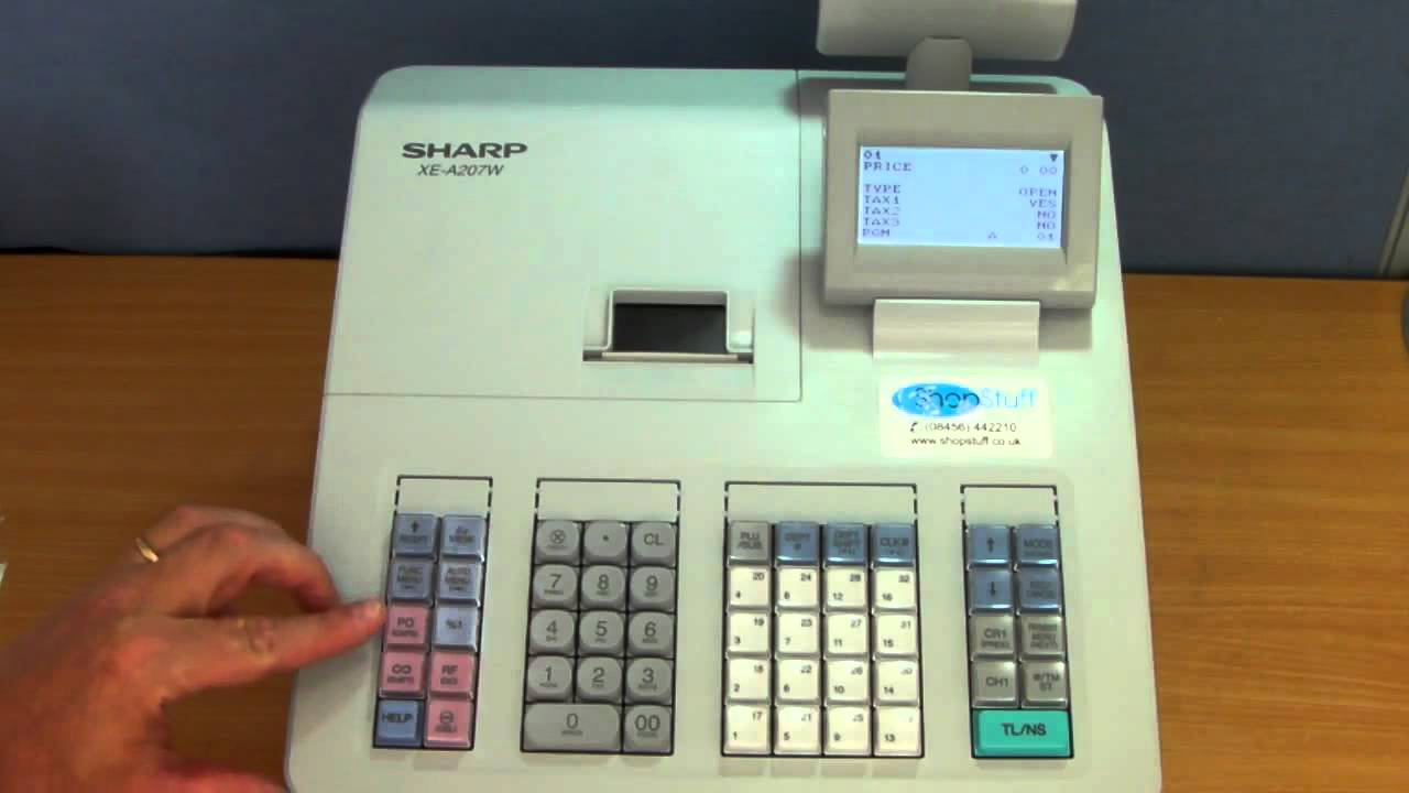 cash register keyboard template - sharp xe a207 cash youtube