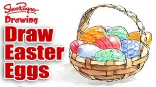 How to draw a basket of Easter Eggs