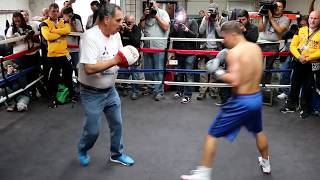 Explosive Golovkin training with trainer Abel Sanchez before Monroe fight
