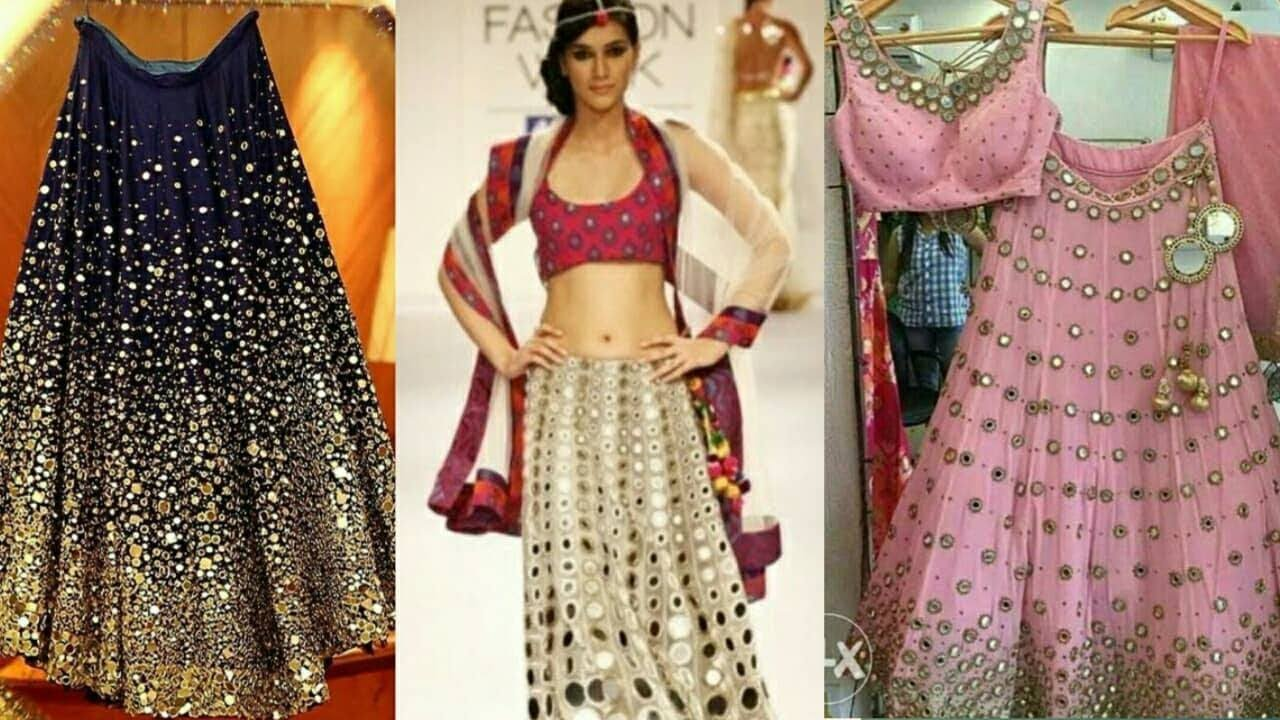 Latest Trendy Designer Mirror work Lehenga Design for Wedding