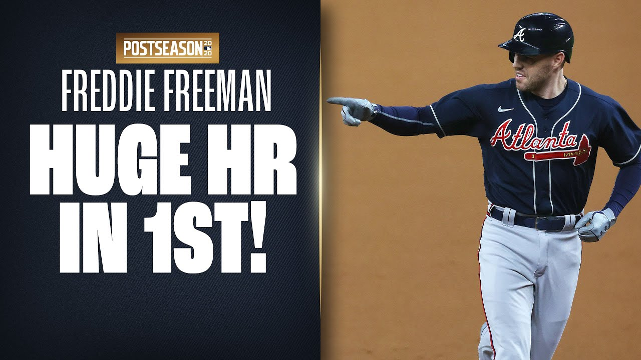 Braves' Freddie Freeman CRUSHES 1st inning home run, with wife and son in crowd! (NLCS Game 1)