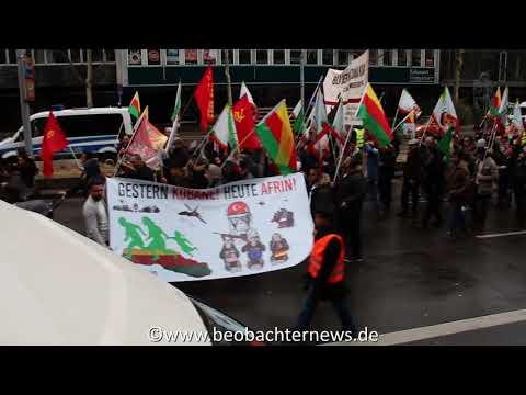 Protest gegen den Angriff auf Afrin - Demonstration in Stuttgart