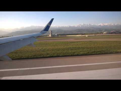 Air Astana KC912 Landing at Almaty International Airport, Kazakhstan and Taxis to the Gate