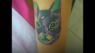 татуировка кошки, художественное тату Днепр