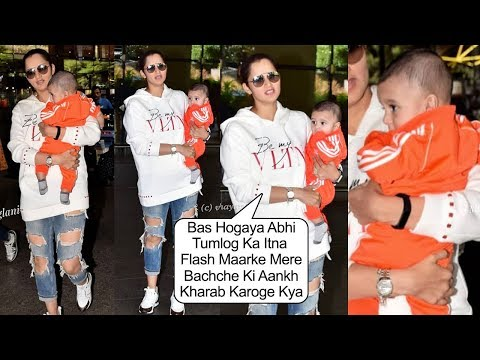 Sania Mirza's ANGRY REACT!0N On Media Taking Pictures Of Son Izhaan Mirza Malik At Airport