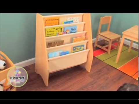 Librero de madera y tela kidkraft 14226 youtube - Libreros de madera modernos ...