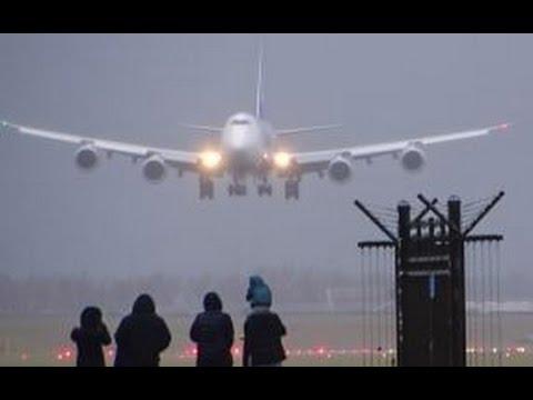 STORM SCHIPHOL - NIPPON CARGO B747 (JA13KZ) Amazing Crosswind Landing