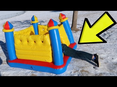 Sledding with a Bounce House!