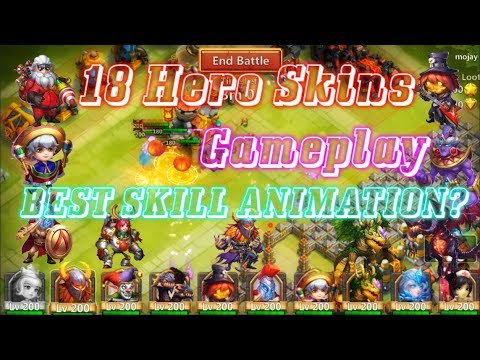 18 Hero Skins Gameplay BEST SKILL ANIMATION? Castle Clash