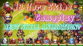 18 Hero Skins Gameplay BEST SKILL ANIMATION? Castle Clash