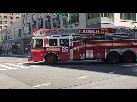 FDNY LADDER 25 RESPONDING ON BROADWAY ON THE UPPER WEST SIDE AREA OF MANHATTAN IN NEW YORK CITY.