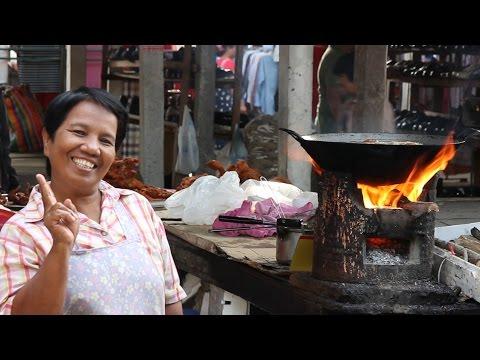 Thai Street Food and Shopping at a Food Market in Thailand. A Walk Around a Thai Food Market