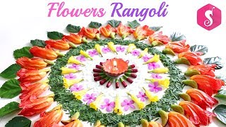 How to make Rangoli from Waste Flowers By Sonali