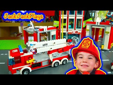 Lego Fire Trucks Compilation - Playing with Lego City Fire Station and Vehicles