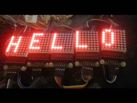 Using 5 LED matrices and Arduino via max7219