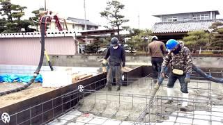 花井ワークス M社と夢のコラボ コンクリートポンプ車2台中継打設