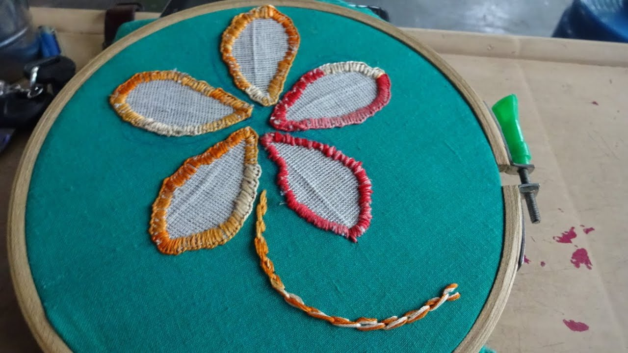 Hand Applique Stitch Work Hand Embroidery By Ammaarts Youtube