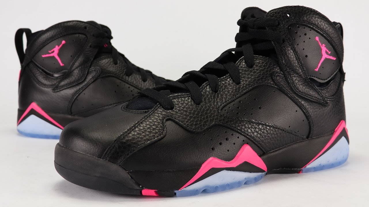 black nike air jordans with a pink check