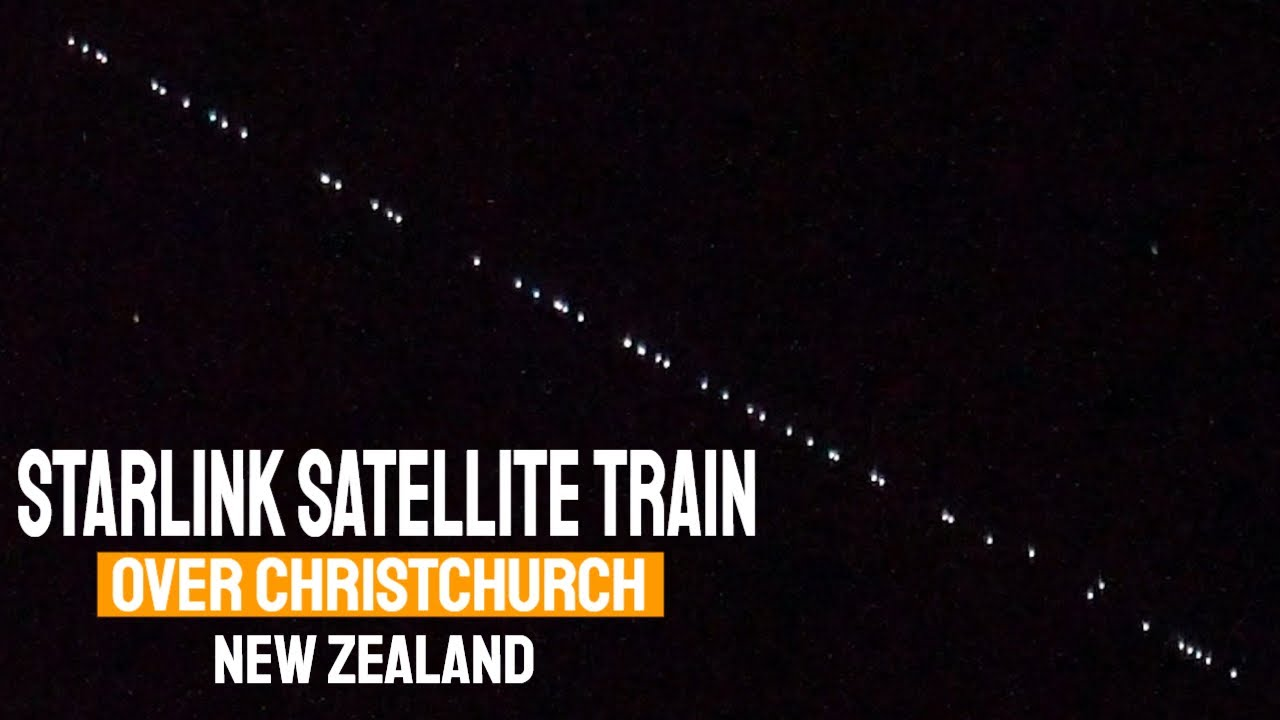 SpaceX StarLink Satellite Train over New Zealand
