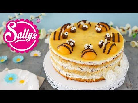 Sommerliche Bienentorte / Buttermilch-Stracciatella-Torte mit Pfirsich