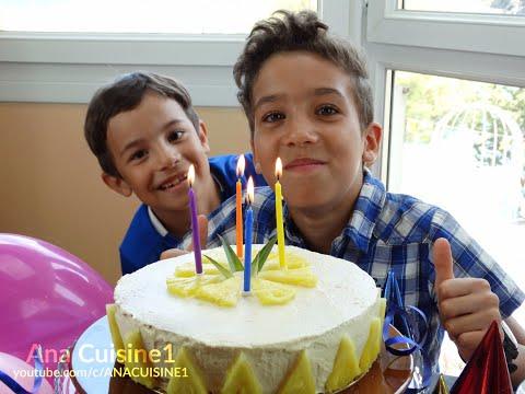 🇫🇷-gâteau-d'anniversaire-à-l'ananas-🇪🇦-bizcocho-de-cumpleaños-de-piña🇬🇧pineapple-birthday-cake