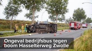 Bedrijfsbusje botst tegen boom Hasselterweg Zwolle - ©StefanVerkerk.nl