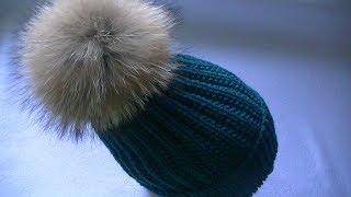 Вяжем шапку узором польская резинка