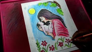 How to Draw Mother and Child Drawing for Kids