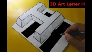 How to draw 3D Art Letter H Floating On paper Step by step trick art for kids,  ✍✍