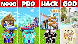 Minecraft: FAMILY WATER SLIDE HOUSE BUILD CHALLENGE - NOOB vs PRO vs HACKER vs GOD in Minecraft