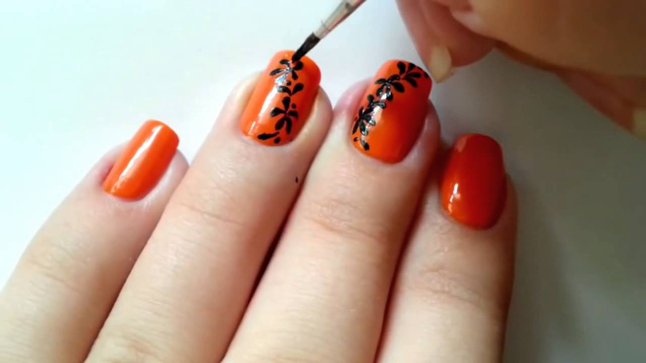 nail design avec peinture orange simple manucure lumineux gel nail design ongles hiver youtube. Black Bedroom Furniture Sets. Home Design Ideas