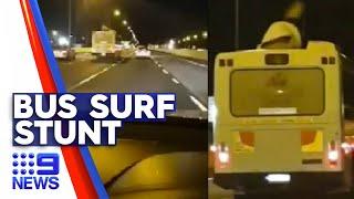 Bus surfing stunt caught on camera