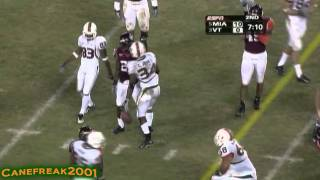 2005 Miami Hurricanes vs Virginia Tech Highlights