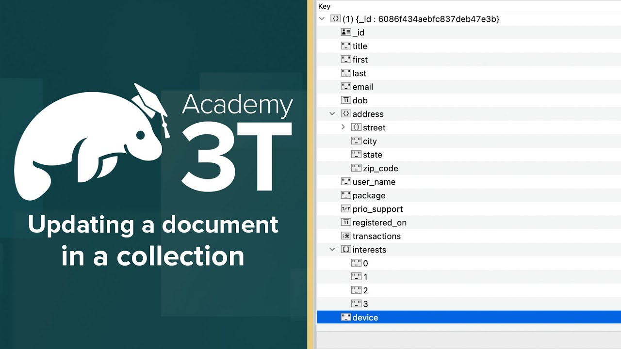 MongoDB 201_L1-E3 » Updating a document in a collection