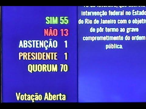 Senado aprova intervenção federal na segurança pública do RJ