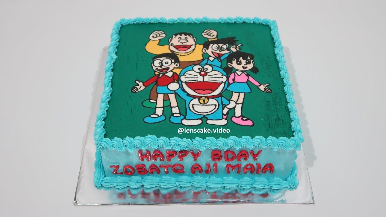 How To Make Birthday Cake Doraemon Family Cara Membuat Kue Ulang Tahun Doraemon Youtube