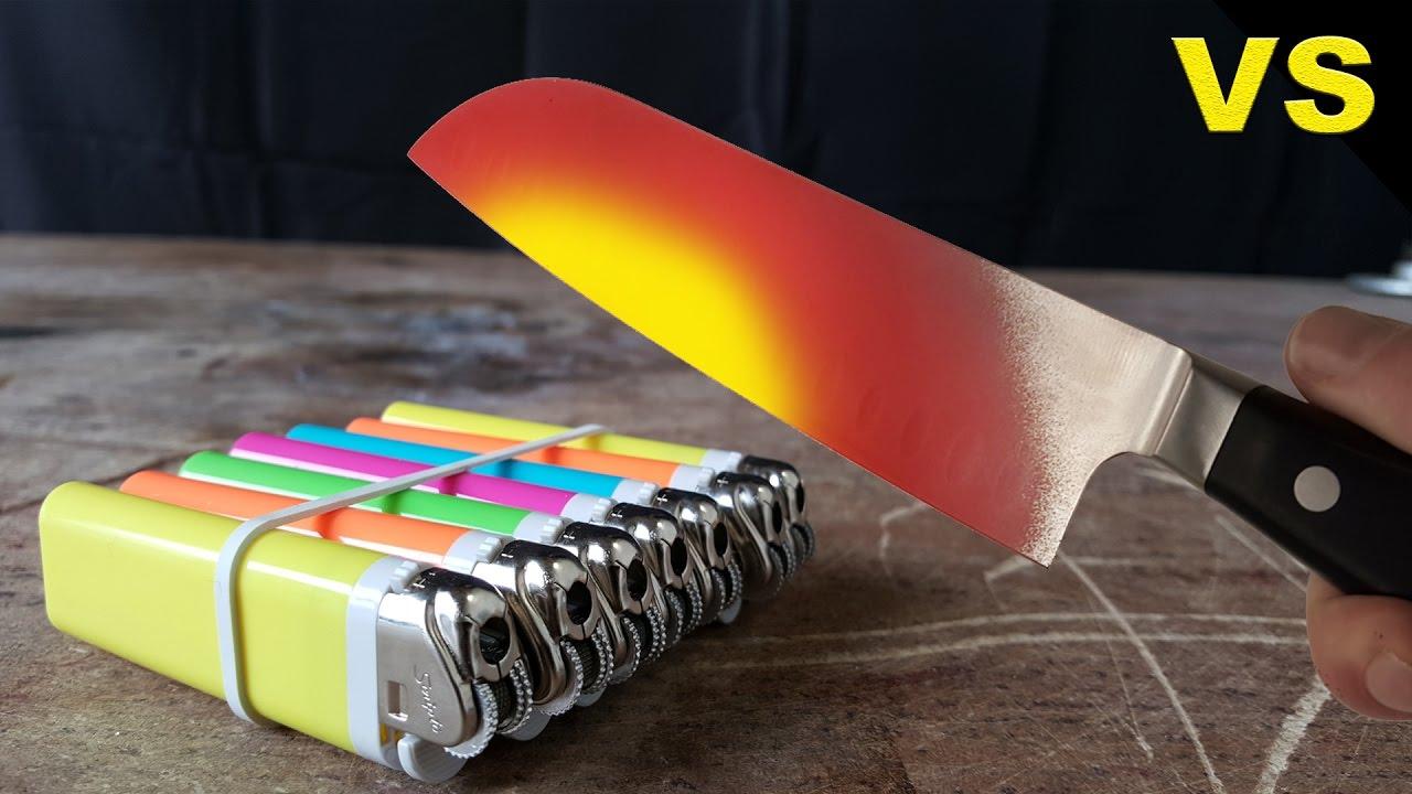 SLOWMO Glowing 1000 degree KNIFE VS LIGHTER