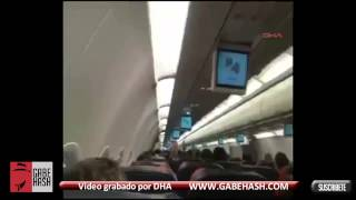 LIGHTING STRIKES AIRPLANE AND CAUSES PANIC INSIDE IN TURKEY JANUARY 25 2013