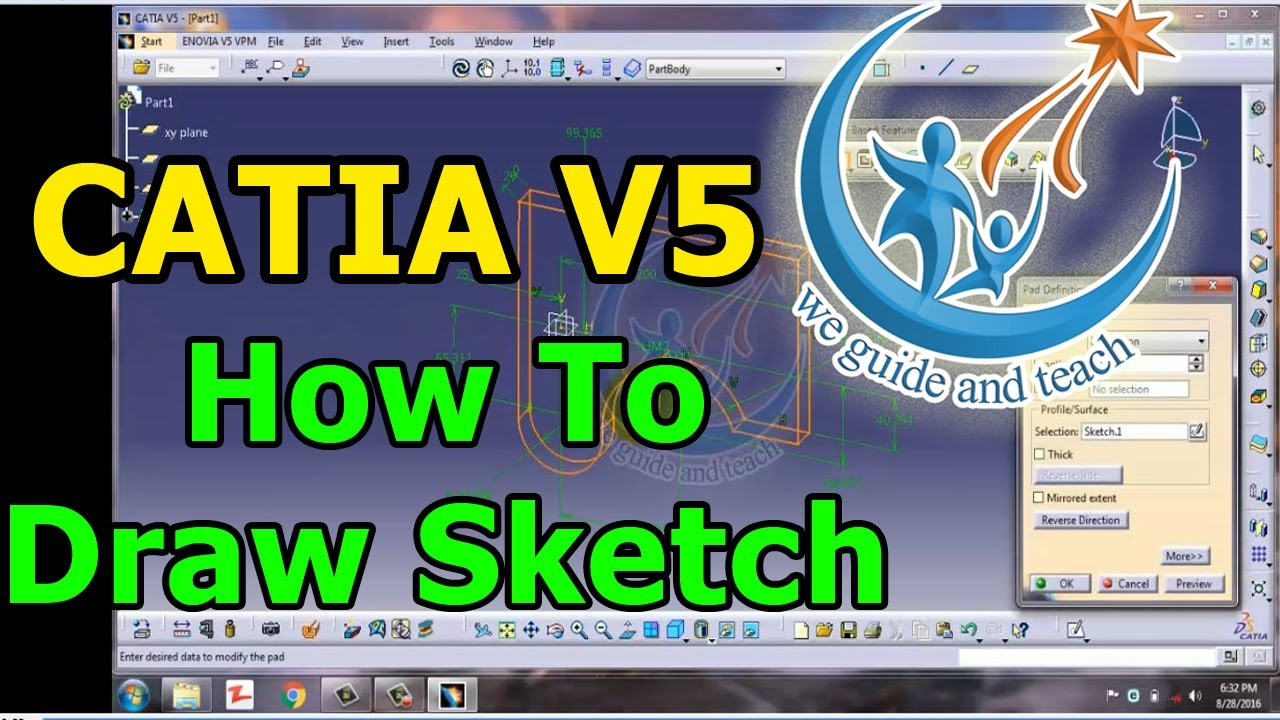CATIA V5: How To Draw Sketch in Sketcher Workbench [Tutorial 2]