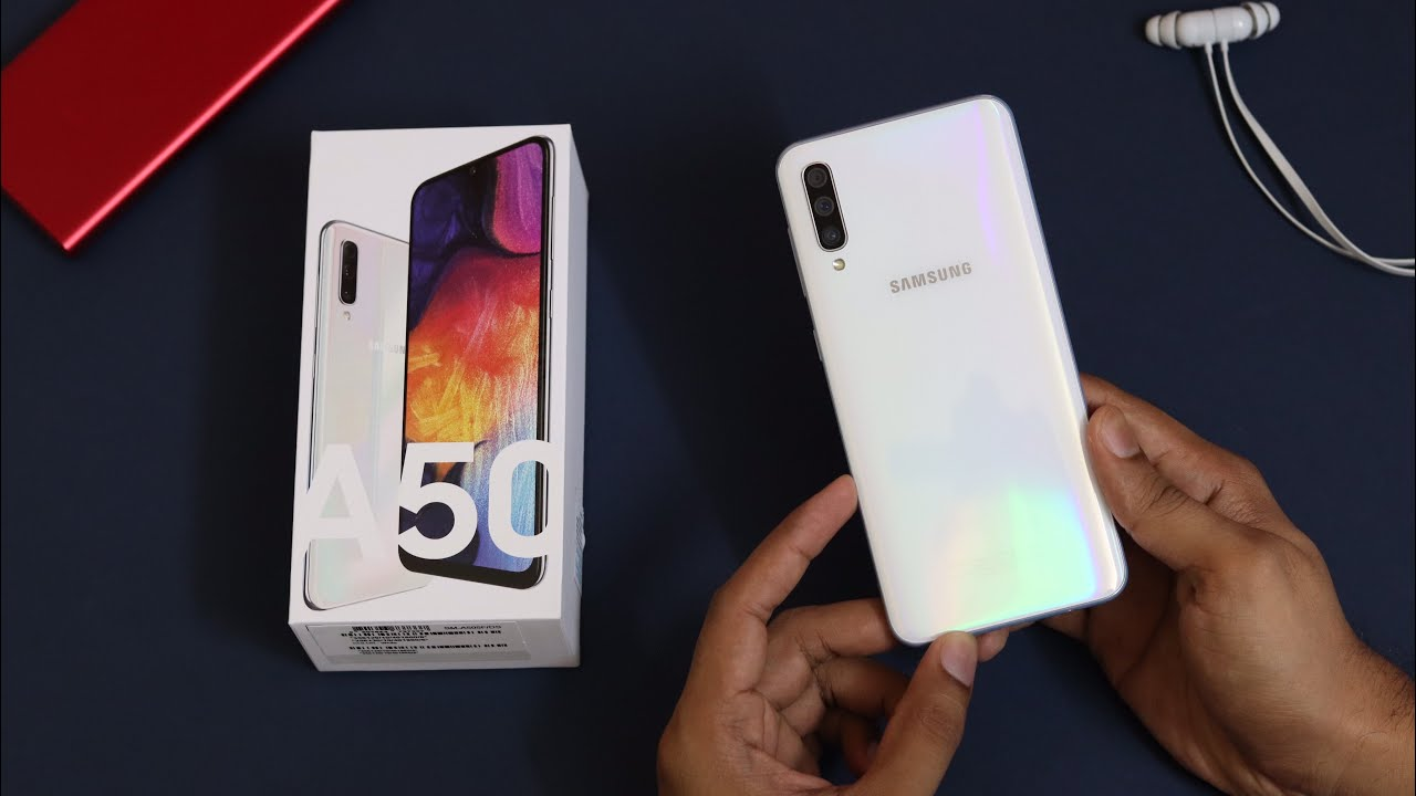 Samsung Galaxy A50 unboxing & initial review.[White colour ...