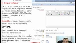 Configuración de Bloque HTML en Moodle