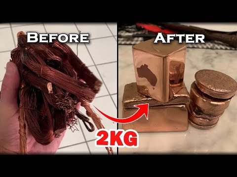 Custom COPPER 2KG Ingots From Scrap Metal Wire & Electro Etching - Melting PURE Copper At Home